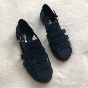 CHANEL Navy Blue Suede Woven Buckle Sandals 41 10